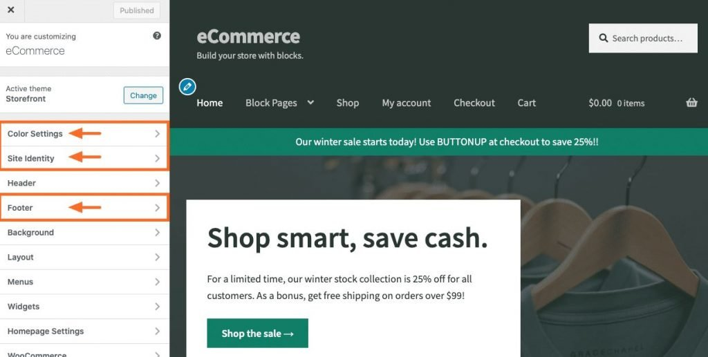 WPEngine eCommerce - Update Apperance in Theme